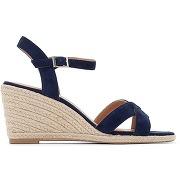 Sandales compensées cuir velours bleu