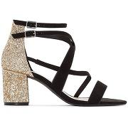 Sandales talon paillettes noir, doré