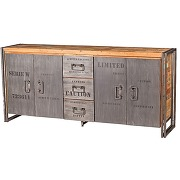 Buffet en bois 4 portes 3 tiroirs - industry - l 200 x l 45 x h 90 - neuf