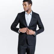 Veste de costume slim imprimé prince de galles noir homme
