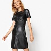 Soldes ! robe imitation cuir, près du corps - feminin - noir - la redoute collections