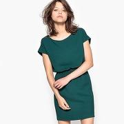 Robe unie, élastiquée taille vert sapin