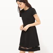 Soldes ! robe manches courtes, uni - feminin - noir - mademoiselle r
