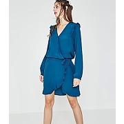 Robe effet cache-coeur femme bleu canard - promod