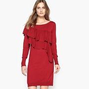 Robe tricot à volants, manches longues rouge