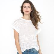 T-shirt manches courtes maille dévorée. soft grey