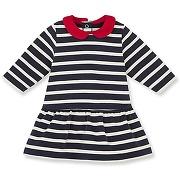 Robe bébé fille à rayure marinière petit bateau bleu, beige