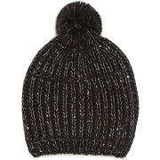 Bonnet tricot avec sequins couleur noir - monoprix femme