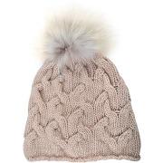 Chapeaux femme bonnet court torsadé cachemire inverni beige