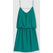 Robe fines bretelles, effet 2 en 1 vert - color block