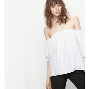 Top en coton aux épaules dénudées ecru maje t2 femme