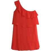 Robe courte sans manche bretelles asymétriques - rouge - femme - naf naf - tailles disponibles: 34,36,38 - solde