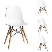 Quatuor de chaises blanches - buri -l 51 x l 46 x h 81 - solde