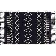 Tapis coton 140x200cm noir kabyl miliboo