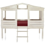 Woody wood lit cabane 1 place blanc antique (90x200cm)