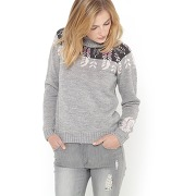 Pull jacquard col roulé gris - soft grey