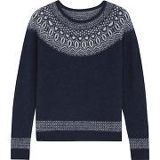 Pull jacquard avec alpaga et mohair femme bleu laine,synthetique comptoir des cotonniers