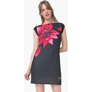Robe manches courtes motifs fleurs noir - desigual