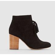 Soldes ! boots à talon détail pompons - feminin - noir - la redoute collections