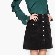 Soldes ! jupe boutonnée velours - feminin - noir - la redoute collections