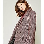 Manteau chevron femme rouille - promod