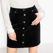 Soldes ! jupe boutonnée en velours - feminin - noir - la redoute collections