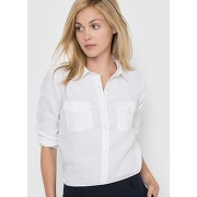 Soldes ! chemise manches longues, pur lin - feminin - blanc - la redoute collections