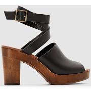 Sandales en cuir noir
