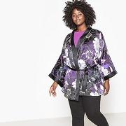 Veste kimono en satin imprimé imprimé