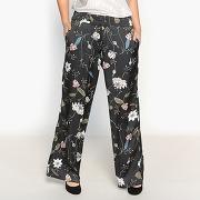 Pantalon large imprimé satiné imprimé floral