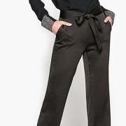 Pantalon bootcut satin noir
