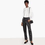 Combinaison 2 en 1 chemisier satin plissé/pantalon ecru / noir