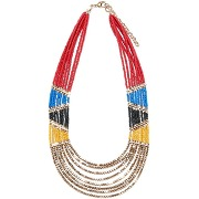 Collier perles esprit ethnique multicolore-beige-taille unique-femme > accessoires > bijoux > collier