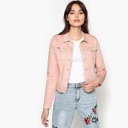 Veste en jean droite avec volants au dos rose pâle