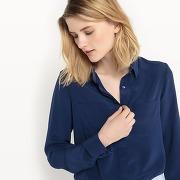 Chemise en soie, poches poitrine bleu nuit