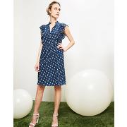 Cacharel-femme-robe 100% soie imprimé marine-t.34