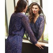 Rianco - robe imprimée à biais ajourés épaules one step