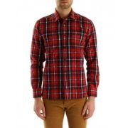 Chemise à carreaux rouge et bleue maison kitsune pour homme - chemises cintrées- rouge - solde