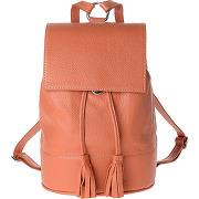 Sac à dos pour femme en cuir made in italy avec rabat et cordon de dudu orange