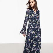 Robe longue imprimée fleuri, liens manches imprimé fond marine