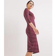 Soldes - longue robe rayee femme raye cassis - promod