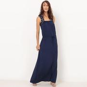 Soldes ! robe longue en maille, détail crochet - feminin - bleu - la redoute collections