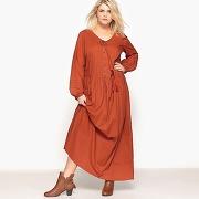 Soldes ! robe longue unie, manches longues - feminin - orange - castaluna