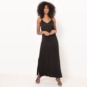 Robe longue, fines bretelles noir