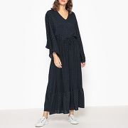 Soldes ! robe longue à encolure v ulisse - feminin - bleu - valerie khalfon