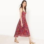 Soldes ! robe plissée, fines bretelles, imprimée - feminin - rouge - mademoiselle r
