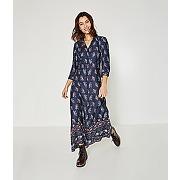 Soldes - longue robe-chemise femme imprime marine - promod