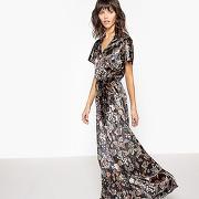Robe longue en velours, imprimée fleurs imprimé fleurs fond bleu