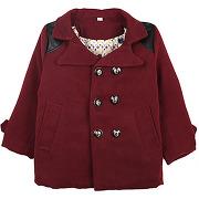 Unisex rouge manteau avec détails d'aspect cuir pour enfant lesara