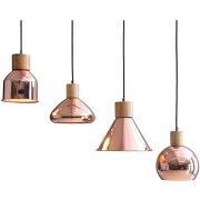 Eec a++, suspension galveston - fer / hêtre massif - 4 ampoules, loistaa